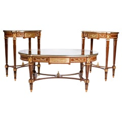 French Louis XVI Marquetry Inlaid Table (3 Set), 20th Century