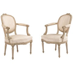 French Louis XVI Moire Armchairs