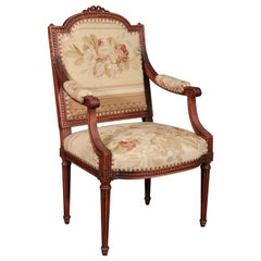French Louis XVI Needlepoint Fauteuil Armchair in Walnut, circa 1890
