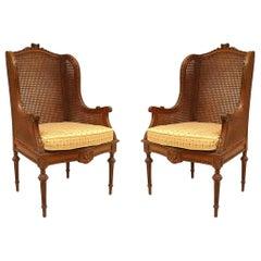 French Louis XVI Oak Wing Chairs