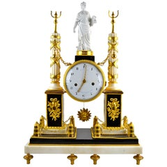 French Louis XVI Ormolu and Marble Monument Clock
