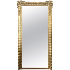 French Louis XVI Ornate Carved Gold Gilt French Tall Mirror