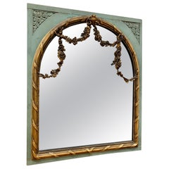 French Louis XVI Palatial Green and Giltwood Mirror