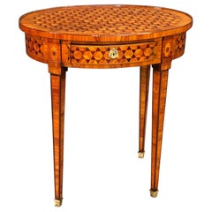 French Louis XVI Parquetry Oval Side Table