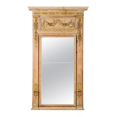 French Louis XVI Period 1780s Wooden Trumeau Mirror with Carved Giltwood Décor