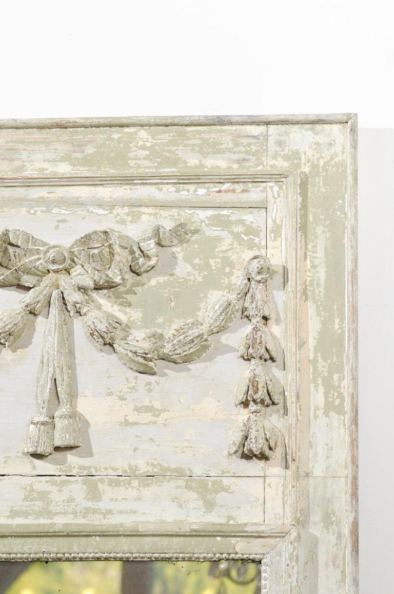 French Louis XVI Period 18th Century Painted Trumeau Mirror with Carved Garland For Sale 3