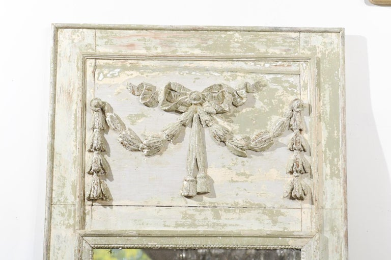 French Louis XVI Period 18th Century Painted Trumeau Mirror with Carved Garland For Sale 4