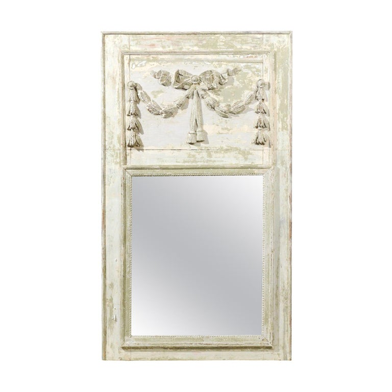 French Louis XVI Period 18th Century Painted Trumeau Mirror with Carved Garland For Sale