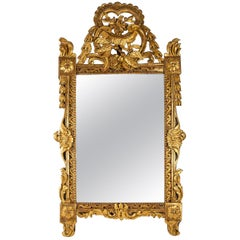 French Louis XVI Period Carved & Giltwood Front Top Mirror, circa 1780