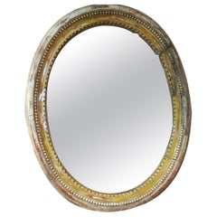 French Louis XVI Period Carved Oval Mirror