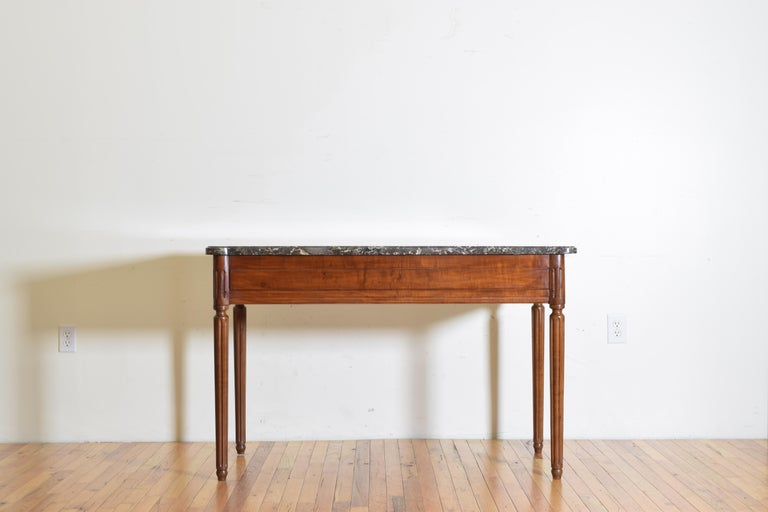 French Louis XVI Period Carved Walnut Marble Top Console Table, 18th Century In Good Condition For Sale In Atlanta, GA