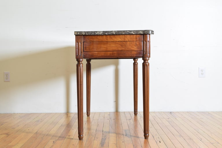 Late 18th Century French Louis XVI Period Carved Walnut Marble Top Console Table, 18th Century For Sale