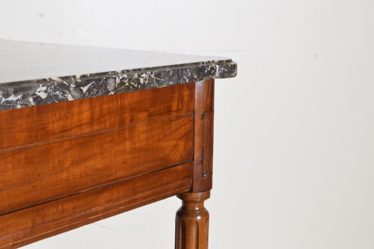 French Louis XVI Period Carved Walnut Marble Top Console Table, 18th Century For Sale 1