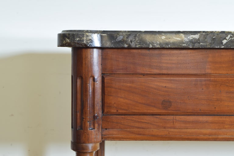 French Louis XVI Period Carved Walnut Marble Top Console Table, 18th Century For Sale 2