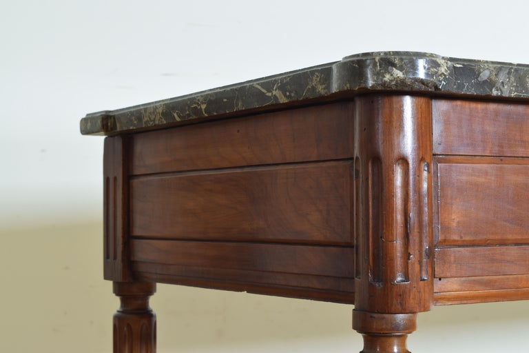 French Louis XVI Period Carved Walnut Marble Top Console Table, 18th Century For Sale 3