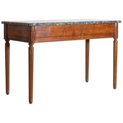 French Louis XVI Period Carved Walnut Marble Top Console Table, 18th Century