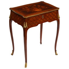French Louis XVI Period Dore Bronze Mounted Marquetry and Parquetry Side Table