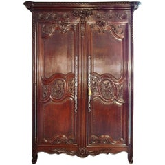 French Louis XVI Period Mid-18th Century Normandy Marriage Armoire in Dark Oak