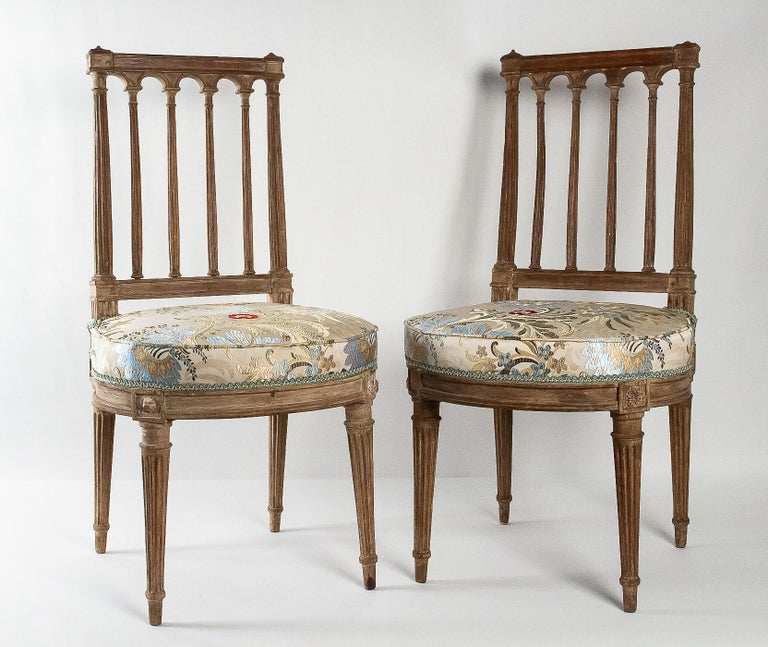 French Louis XVI period, pair of chairs in lacquered beechwood, circa 1780.