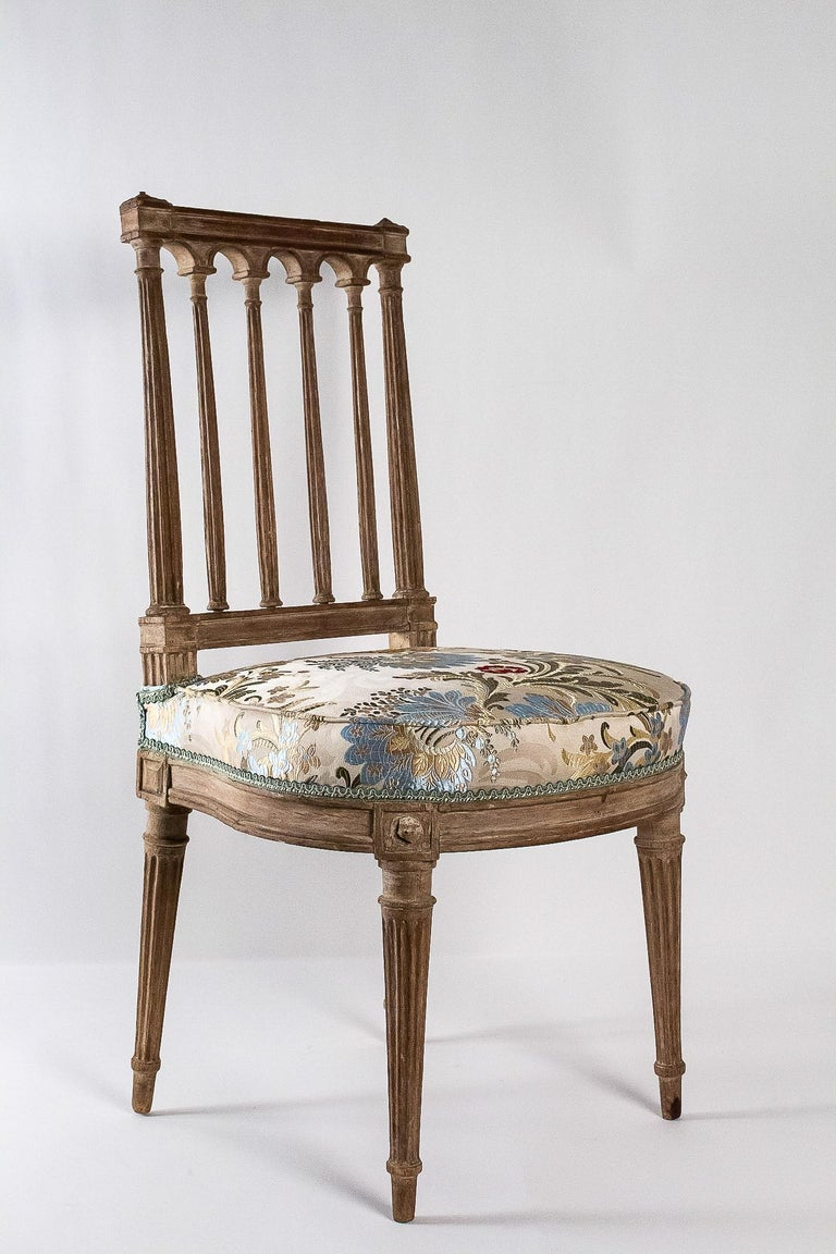 Carved French Louis XVI Period, Pair of Chairs in Lacquered Beechwood, circa 1780 For Sale