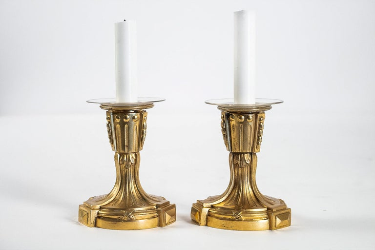 French Louis XVI Period Pair of Small Gilt Bronze Candlesticks, circa 1780 For Sale 7