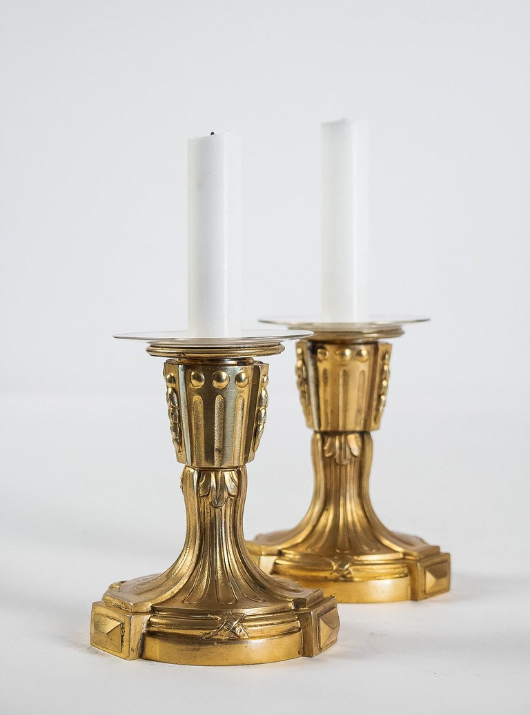French Louis XVI Period Pair of Small Gilt Bronze Candlesticks, circa 1780 For Sale 8
