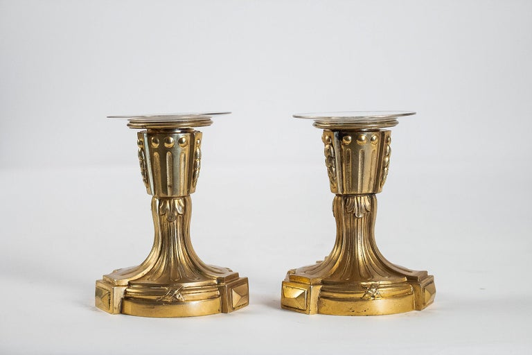 Late 18th Century French Louis XVI Period Pair of Small Gilt Bronze Candlesticks, circa 1780 For Sale