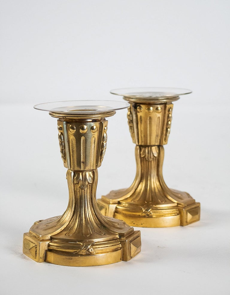 French Louis XVI Period Pair of Small Gilt Bronze Candlesticks, circa 1780 For Sale 1