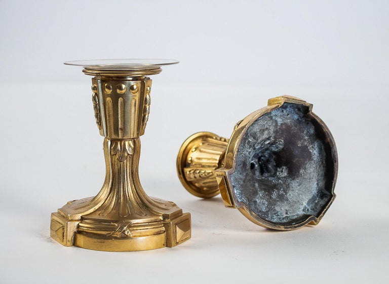 French Louis XVI Period Pair of Small Gilt Bronze Candlesticks, circa 1780 For Sale 2