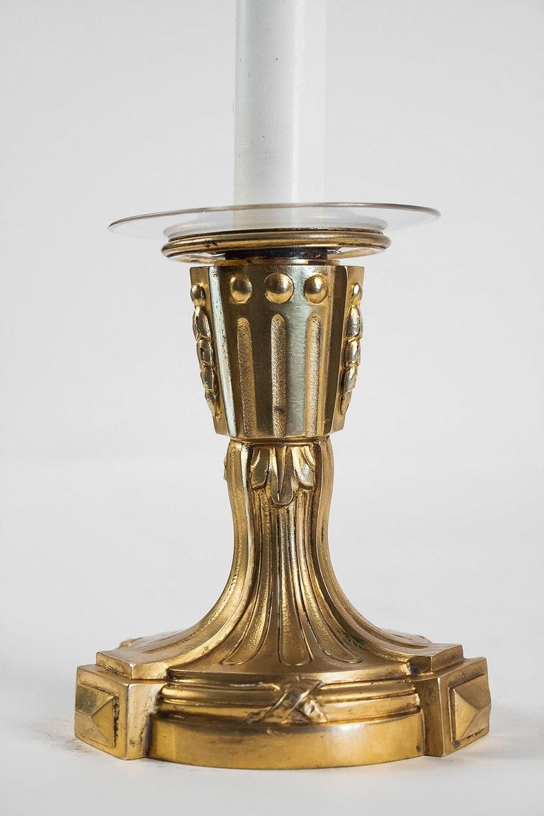 French Louis XVI Period Pair of Small Gilt Bronze Candlesticks, circa 1780 For Sale 3
