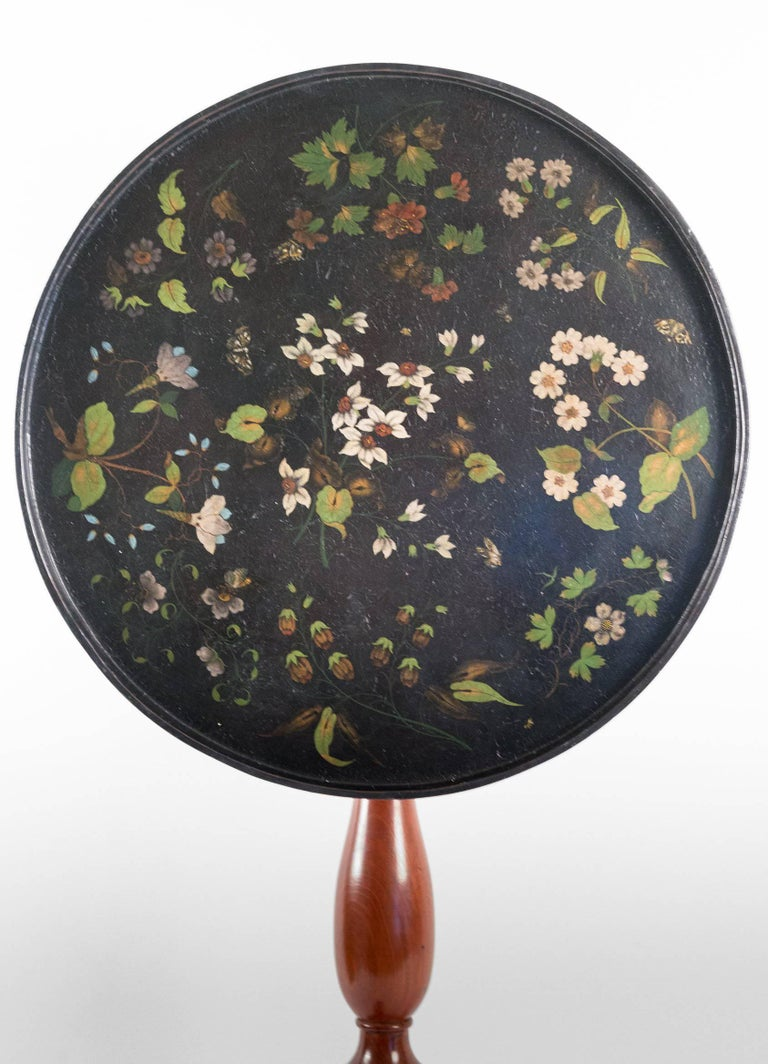 Hand-Painted French Louis XVI Period Pedestal Table and Painted Iron Top, circa 1775-1785 For Sale
