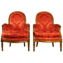 French Louis XVI Period Set of Two Bergeres, circa 1780