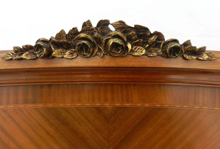 French Louis XVI Rev Bed US Queen UK King Marquetry Ormolu, circa 1920 In Good Condition For Sale In , South West France
