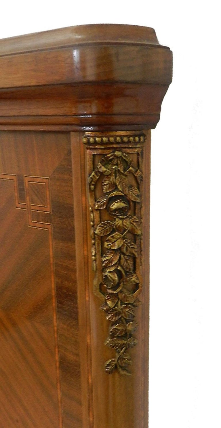 Early 20th Century French Louis XVI Rev Bed US Queen UK King Marquetry Ormolu, circa 1920 For Sale