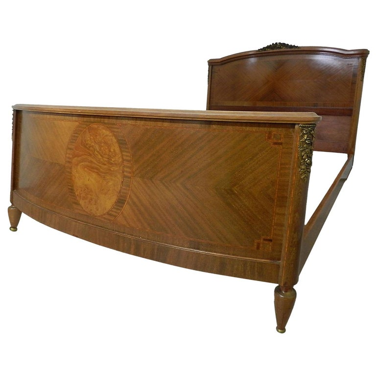 French Louis XVI Rev Bed US Queen UK King Marquetry Ormolu, circa 1920 For Sale