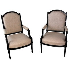 French Louis XVI Revival Ebonized Pair of Upholstered Lounging Chairs, Fauteuils