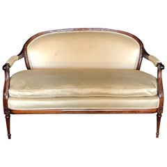 French Louis XVI Silk and Mahogany Loveseat Settee Sofa