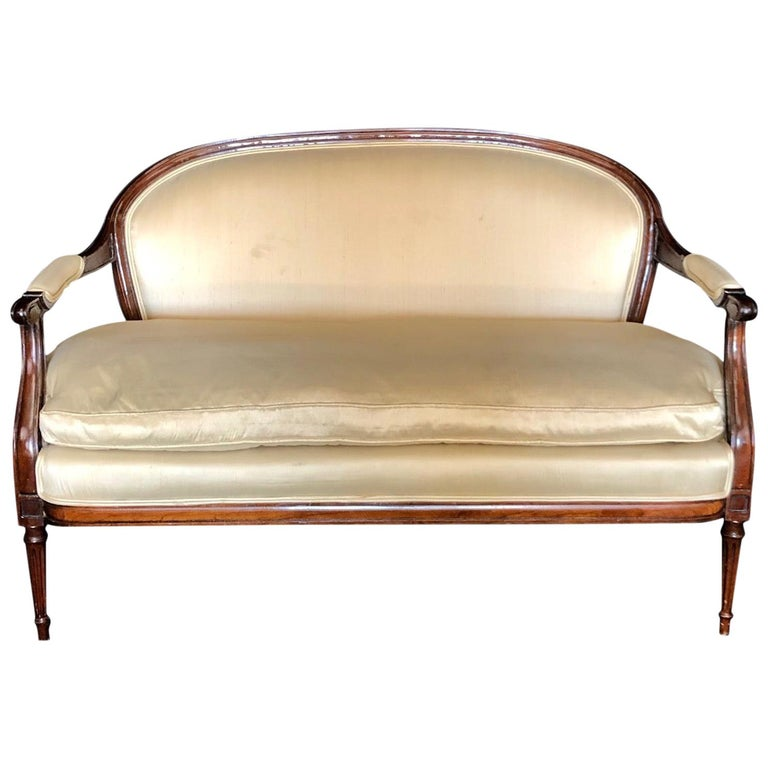 French Louis XVI Silk and Mahogany Loveseat Settee Sofa For Sale