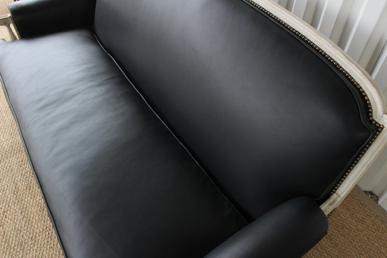 French Louis XVI Sofa in Leather For Sale 5