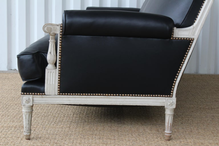 French Louis XVI Sofa in Leather For Sale 7