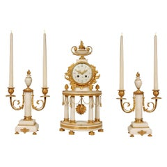 French Louis XVI Style 19th Century Mounted Marble Clock Garniture Set