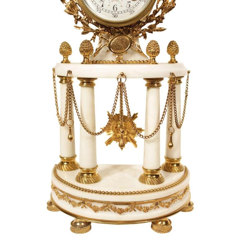 French Louis XVI Style 19th Century Ormolu Mounted on White Carrara Marble Clock For Sale 1