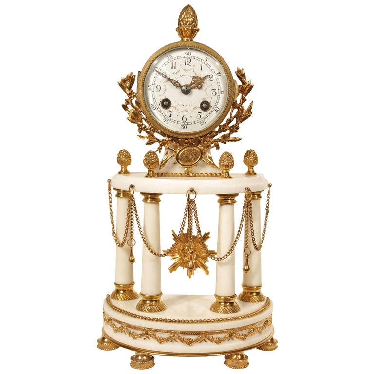 French Louis XVI Style 19th Century Ormolu Mounted on White Carrara Marble Clock For Sale