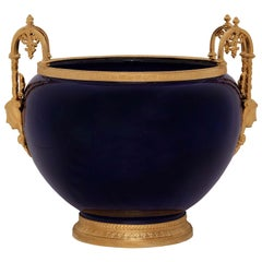 French Louis XVI Style Cobalt Blue Porcelain and Ormolu Urn