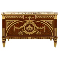 French Louis XVI Style Kingwood and Ormolu Commode à Vantaux by Francois Linke
