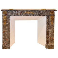 French Louis XVI St. Marble and Ormolu-Mounted Mantel