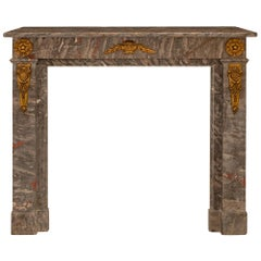 French Louis XVI Style Marble and Ormolu-Mounted Mantel