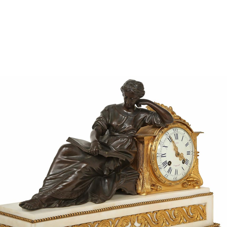 Patinated French Louis XVI St. Mid 19th Century Mantel Clock Signed 'Jean' Paris For Sale