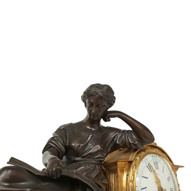 French Louis XVI St. Mid 19th Century Mantel Clock Signed 'Jean' Paris In Excellent Condition For Sale In West Palm Beach, FL