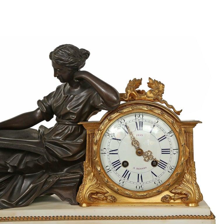 Bronze French Louis XVI St. Mid 19th Century Mantel Clock Signed 'Jean' Paris For Sale